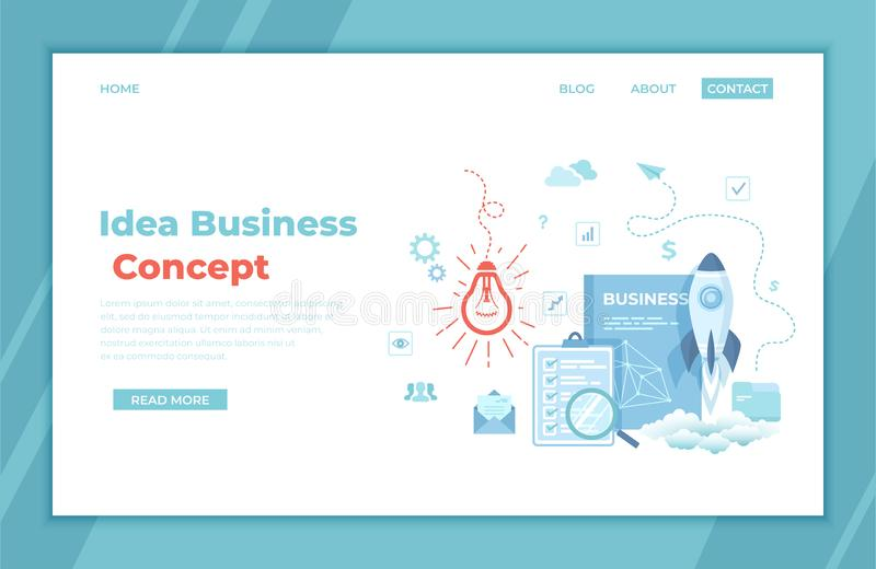 Idea Business Concept. Project Startup. Financial planning Strategy Realization and Success. Light bulb, rocket launch, business vector illustration