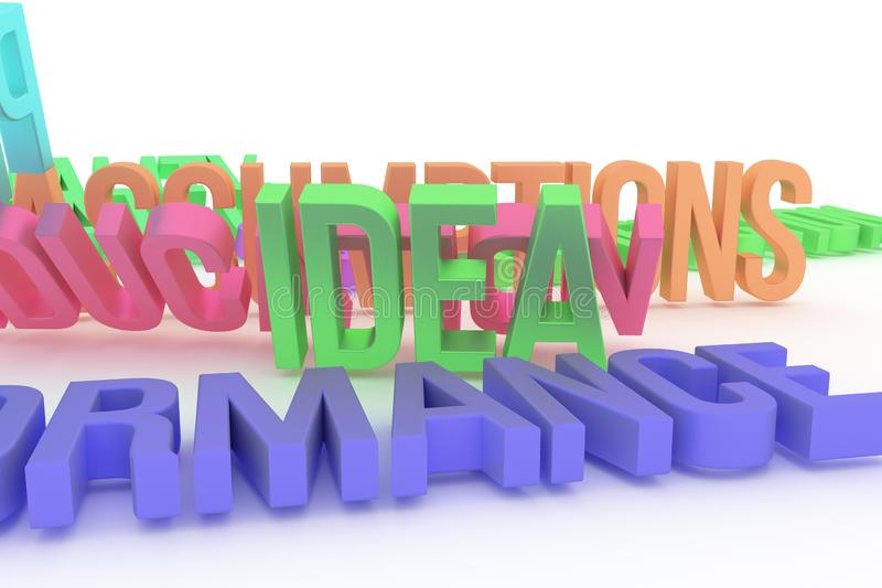 Idea, business conceptual colorful 3D rendered words. Graphic, message, illustration & alphabet. Idea, business conceptual colorful 3D rendered words. CGI royalty free illustration