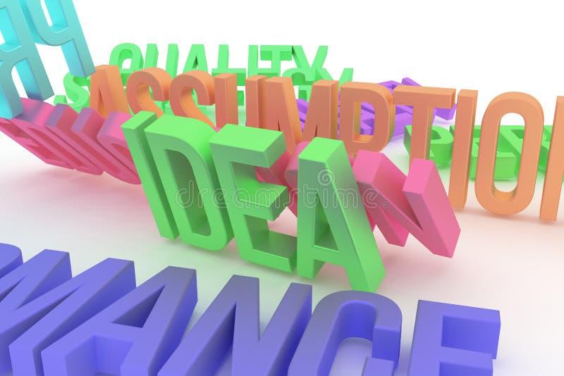 Idea, business conceptual colorful 3D rendered words. Positive, illustration, message & communication. Idea, business conceptual colorful 3D rendered words vector illustration
