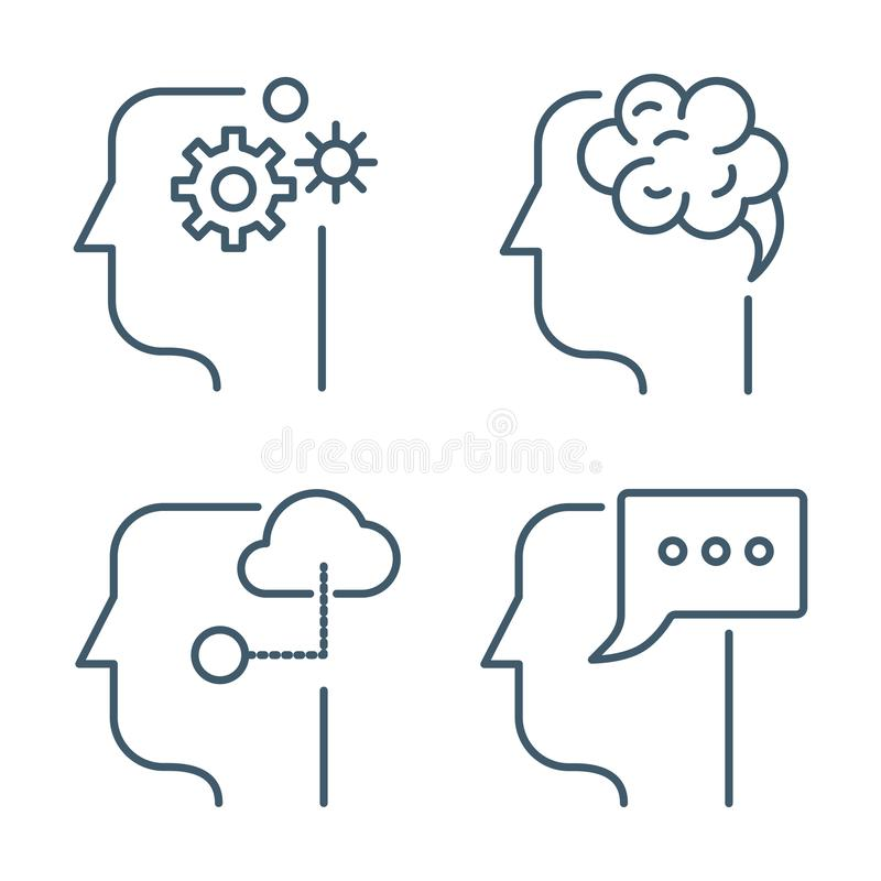 Idea, business management line thin vector icons stock illustration