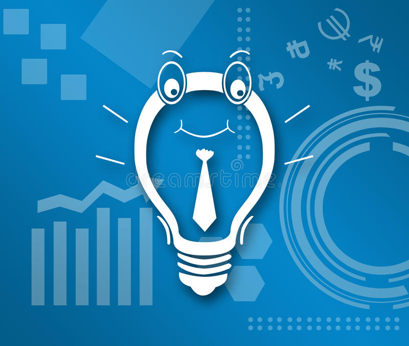 Idea Business Theme Background. Blue business and tech style background with idea bulb on it royalty free illustration