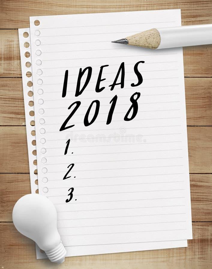 Idea 2018 checklist concepts stock photos
