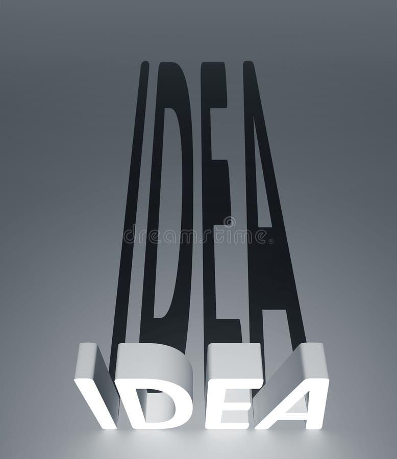 Idea concept. Idea 3d text with shadow stock illustration