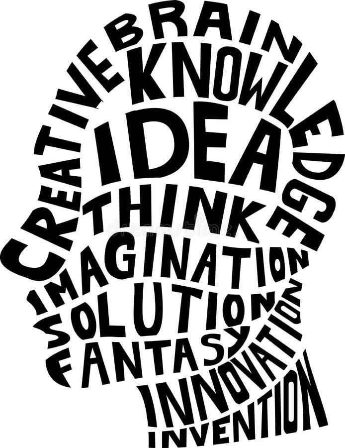 Idea concept design. Illustration of human silhouette with idea concept design royalty free illustration