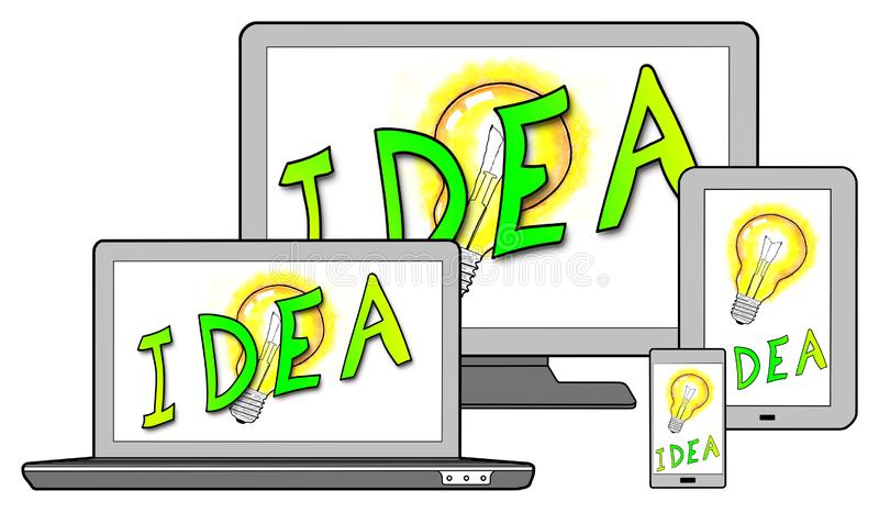 Idea concept on different devices. Isolated on white stock photo