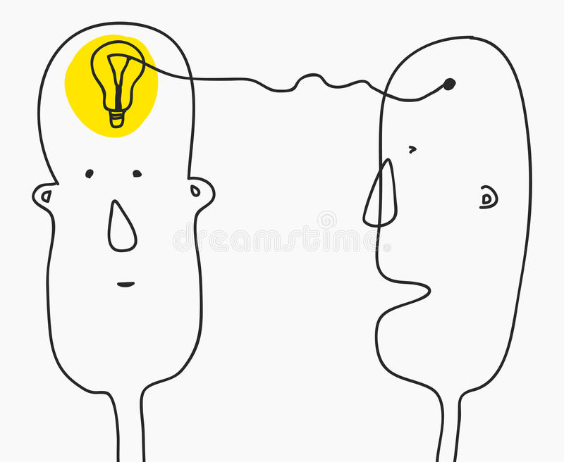 Idea concept.Finding solution,brainstorming,creative thinking,light bulb symbol.Modern Doodle line style sketch.Two royalty free illustration