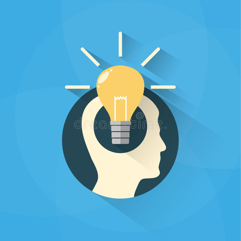 Idea concept with head and bulb vector illustration