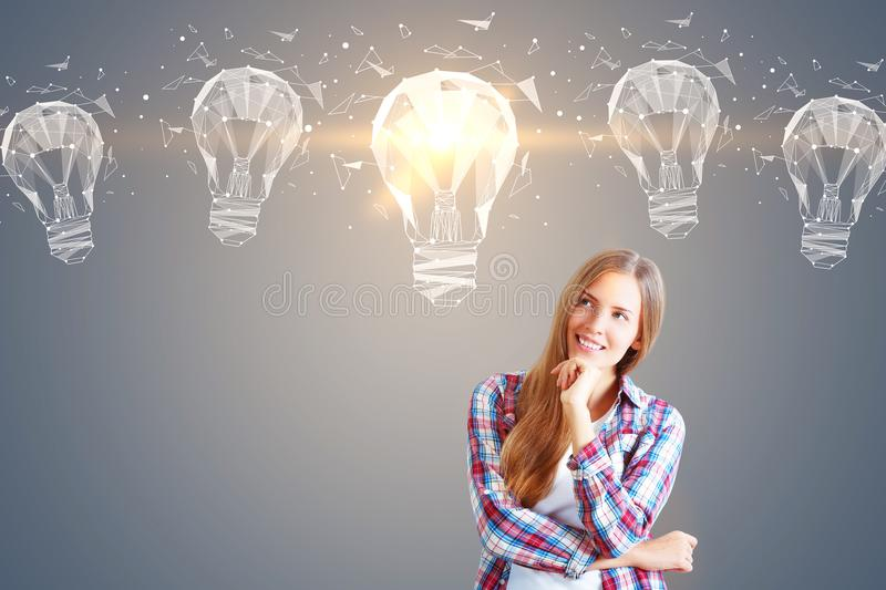 Idea concept with hipster girl stock photo