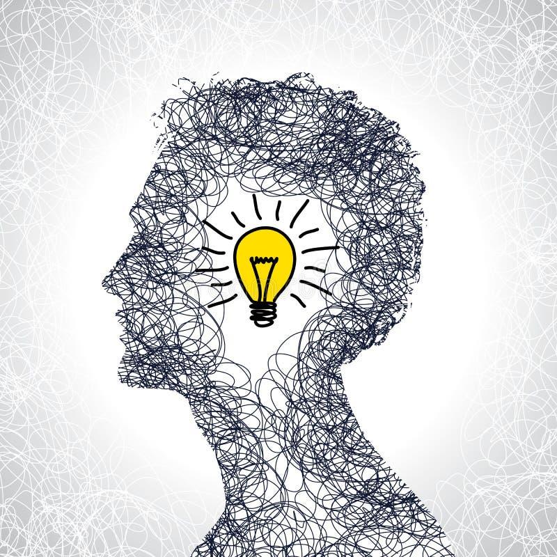 Idea concept with human head vector illustration