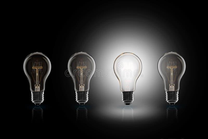 Idea concept - light bulb on the black background. Idea and leadership concept - incandescent light bulb on the black background stock image