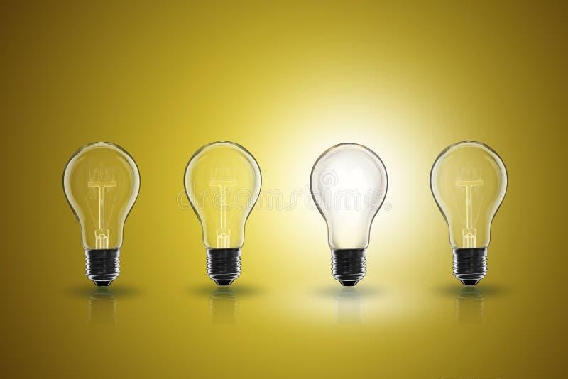 Idea concept - light bulb on the color background. Idea and leadership concept - incandescent light bulb on the color background stock image
