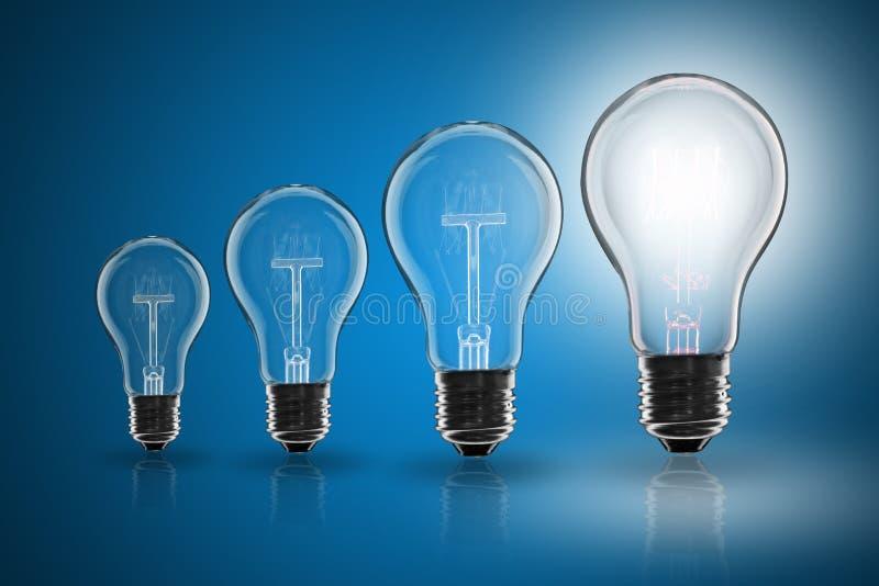 Idea concept - light bulb on the color background. Idea and leadership concept - incandescent light bulb on the color background stock images