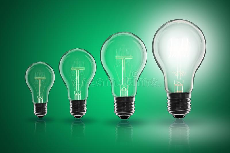 Idea concept -   light bulb on the color background. Idea and  leadership concept -  incandescent light bulb on the color background lightbulb teamwork lamp royalty free stock photography