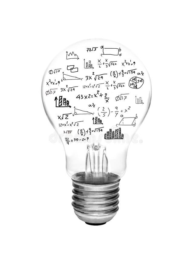 Idea concept - light bulbs with bright glowing with math formula and graph isolated royalty free stock image