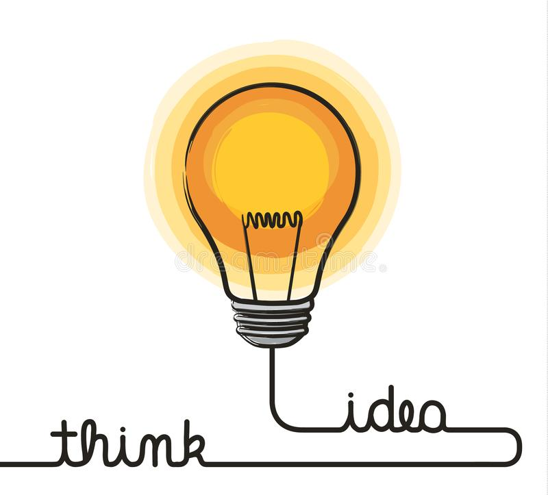 Idea concept. Lightbulb and wire forming text think and idea. stock illustration