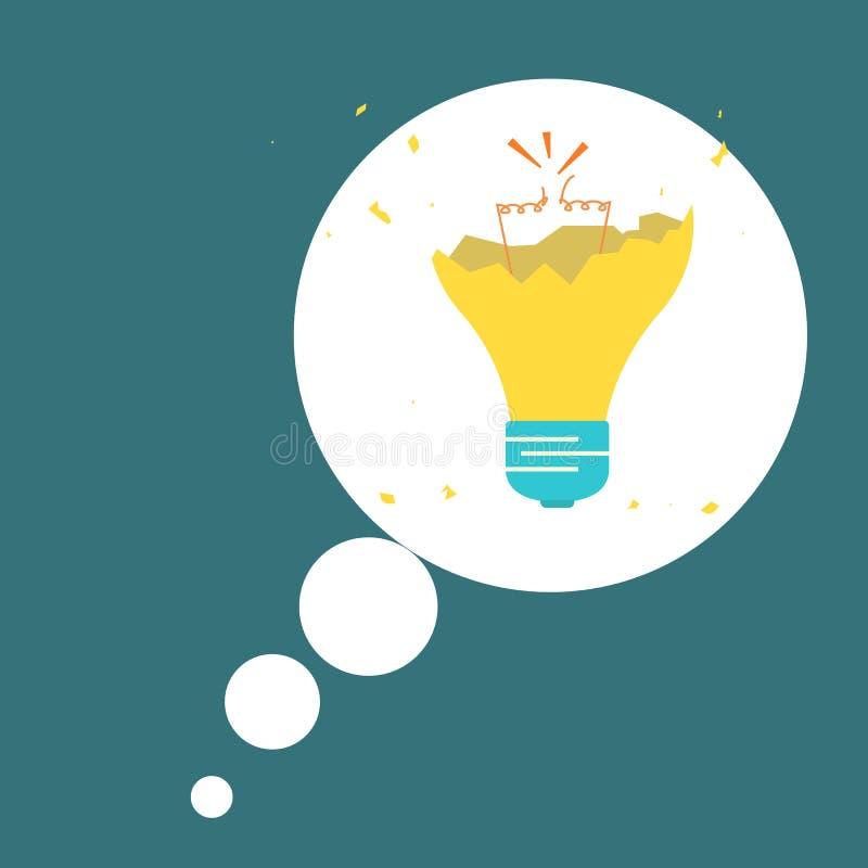 Idea concept. No Idea. Broken light bulb. Vector royalty free illustration