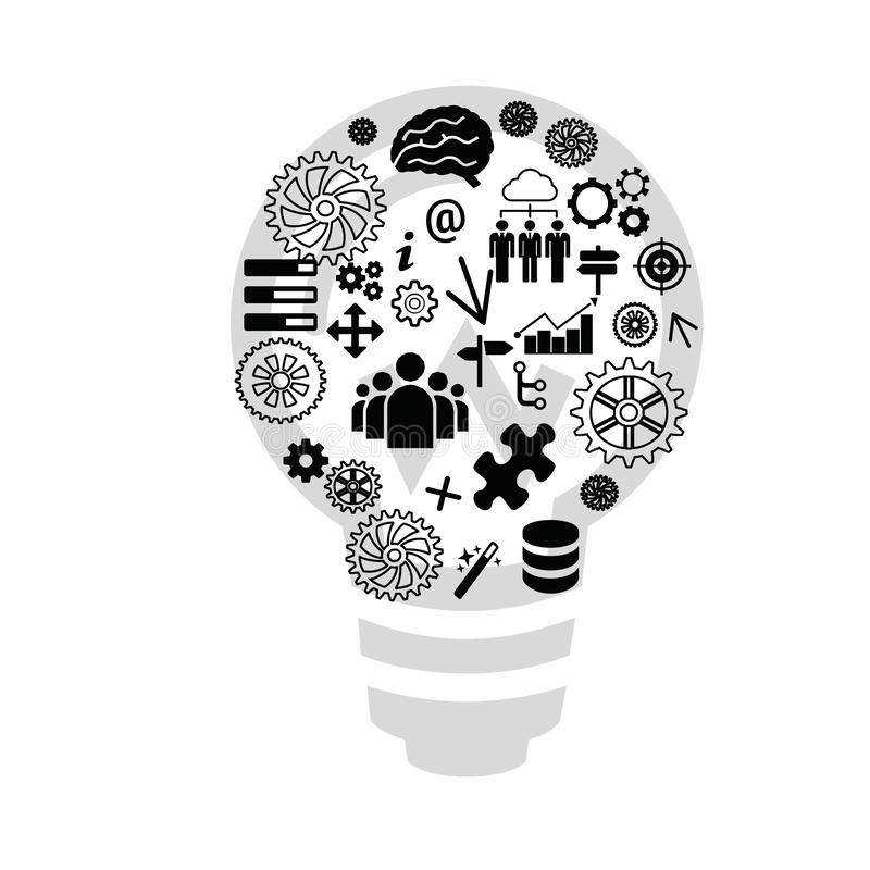 Lamp idea, concept infographic. Expert system. Lamp concept with light background. Notion, thought, message, insight, lamp vector illustration