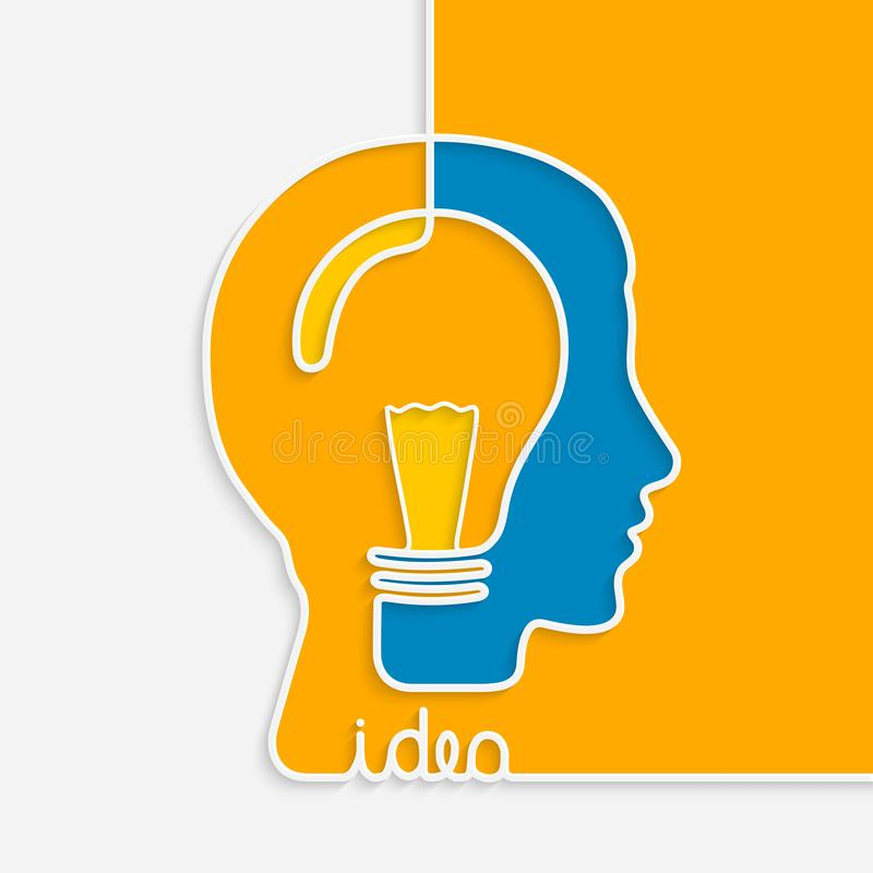Idea concept. One line forming a head with lightbulb. vector illustration