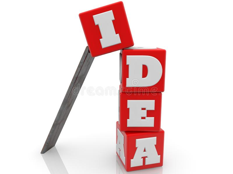 Idea concept on red cubes on white background. In background vector illustration