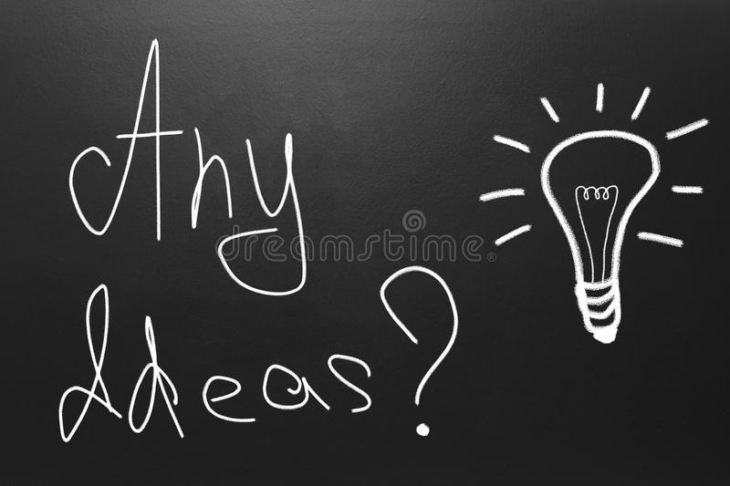 Idea Concept With Text Any Ideas Drawn On Blackboard Stock Photo Image Of Questions Question 105545894