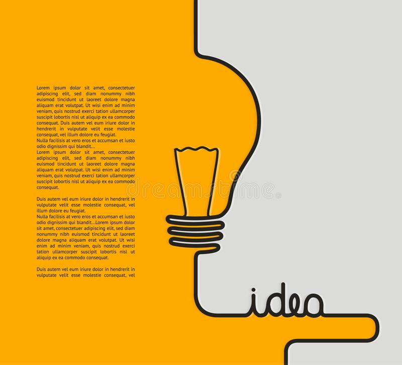 Idea concept. Wire forming a lightbulb and text idea. stock illustration