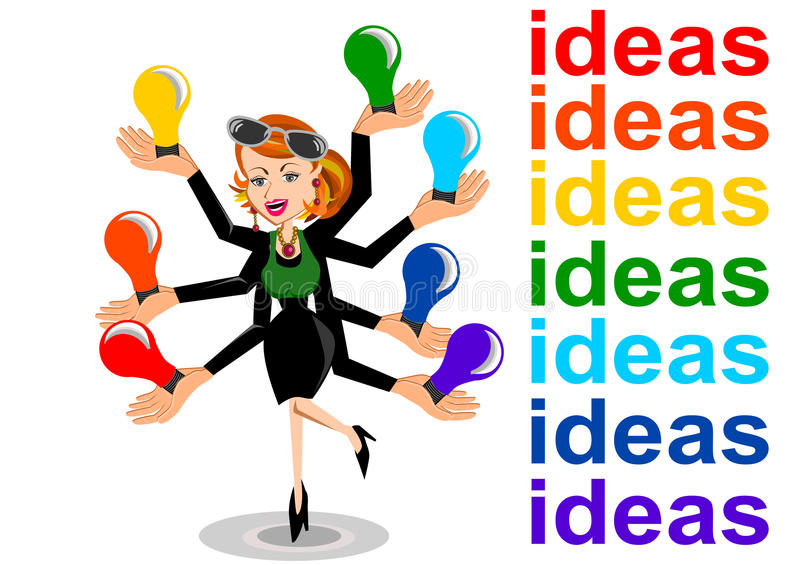 Idea concept. Woman with multiply hands for ideas concept isolated vector stock illustration