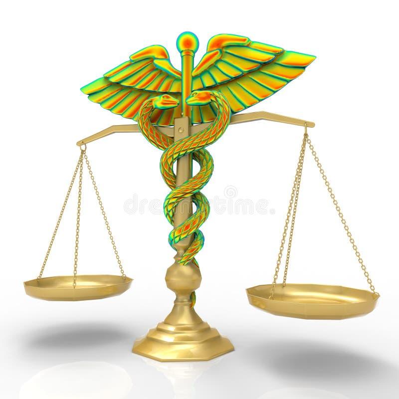 Idea conceptual de la justicia en la representación de la medicina 3d ilustración del vector