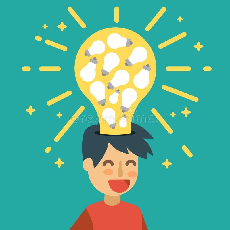 Idea creativa con muchas bombillas stock de ilustración