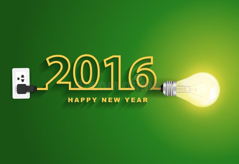 Idea creativa de la bombilla del concepto de la Feliz Año Nuevo del vector 2016 ilustración del vector