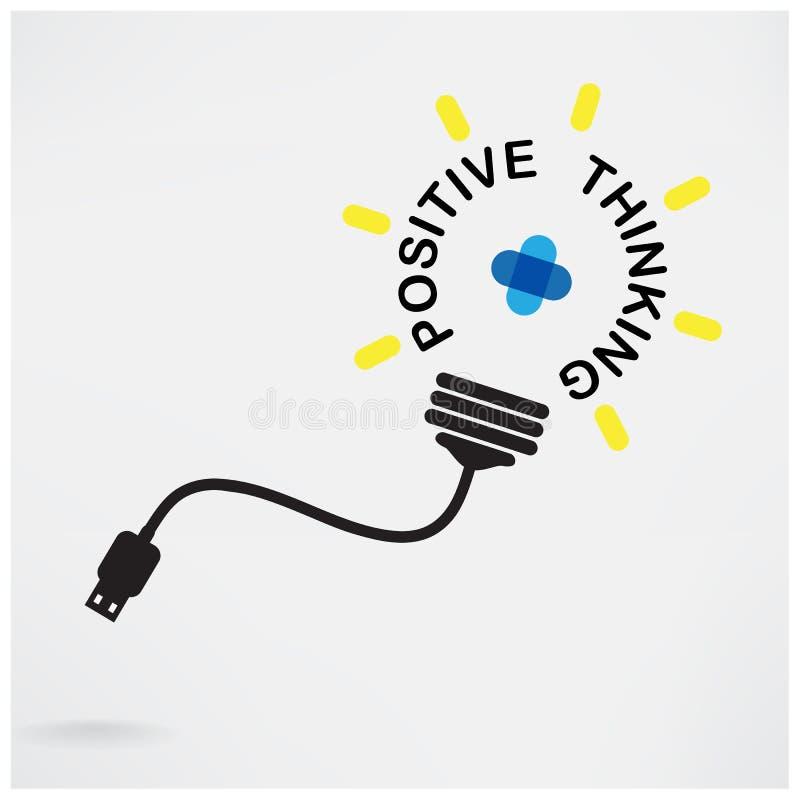 Idea creativa de la bombilla, idea del negocio, símbolo abstracto, positiv stock de ilustración