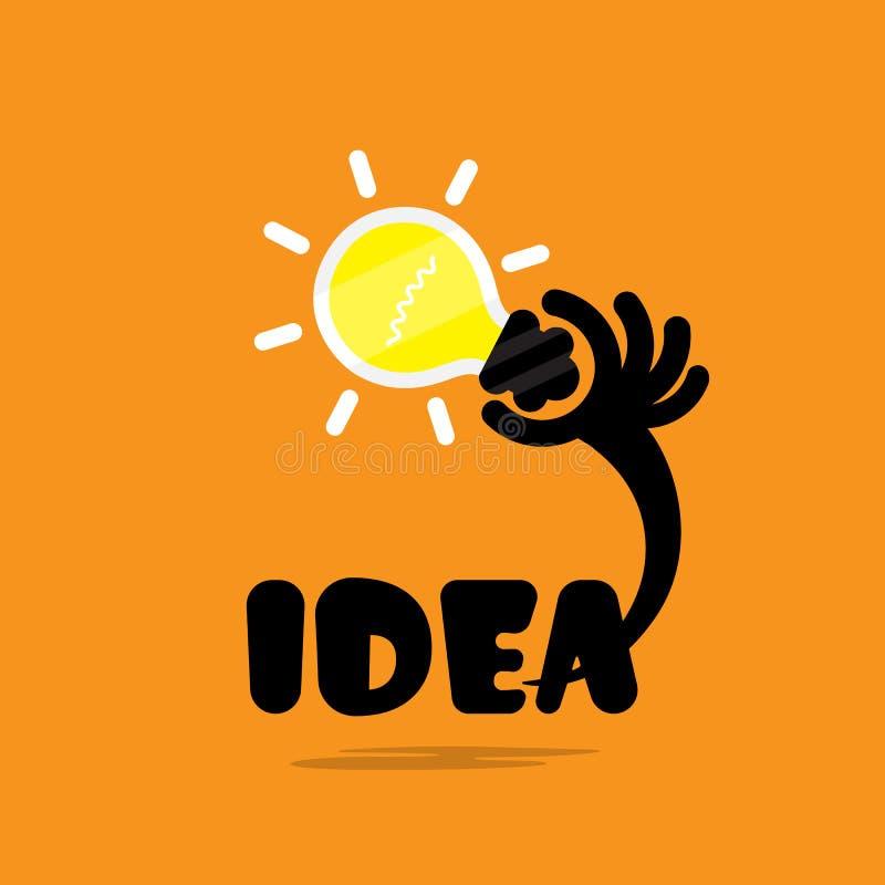 Idea creativa de la luz de bulbo, diseño plano Concepto de inspiratio de las ideas stock de ilustración