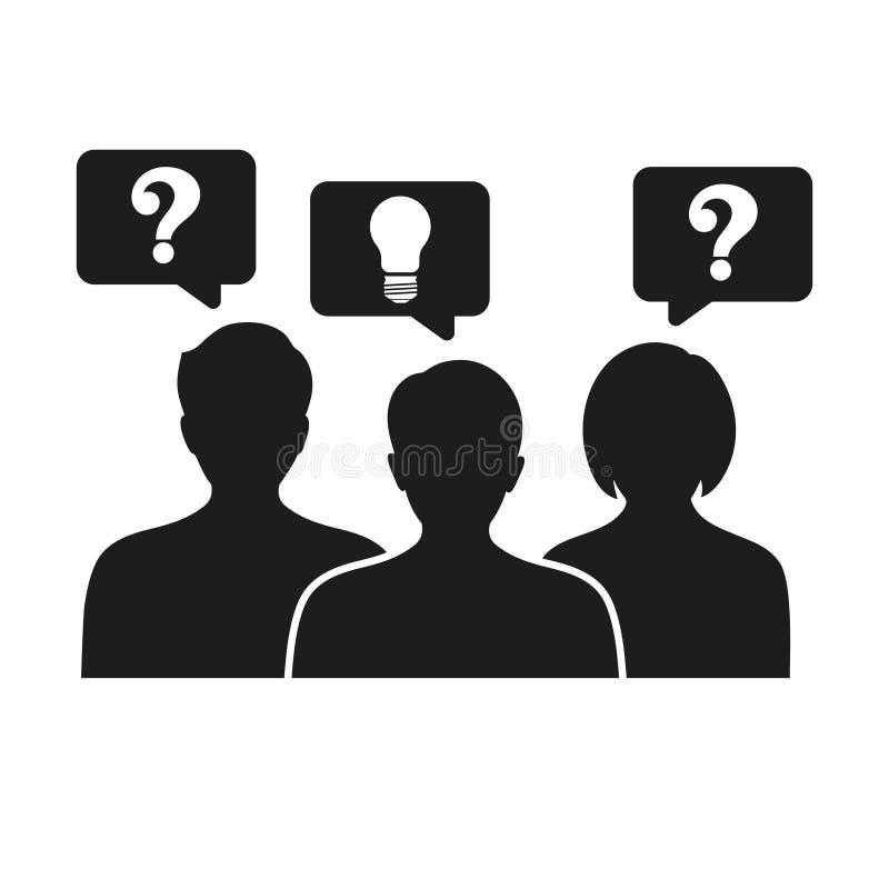 Idea creativa de pensamiento de la gente - con los iconos del signo de interrogación y de la bombilla - Uso en el proyecto Web y  ilustración del vector
