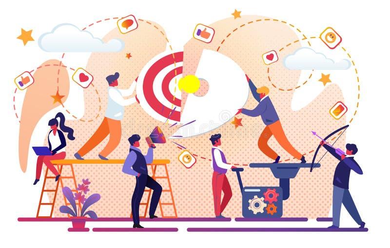 Idea creativa del éxito empresarial Trabajo en equipo de la oficina stock de ilustración