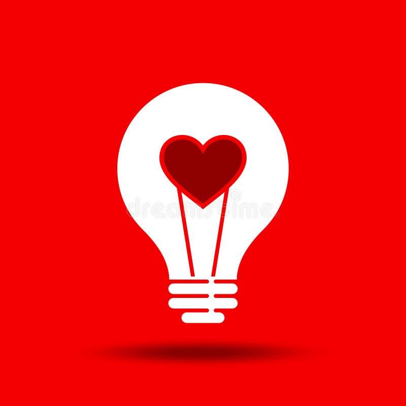 Idea creativa del amor en bulbo ilustración del vector
