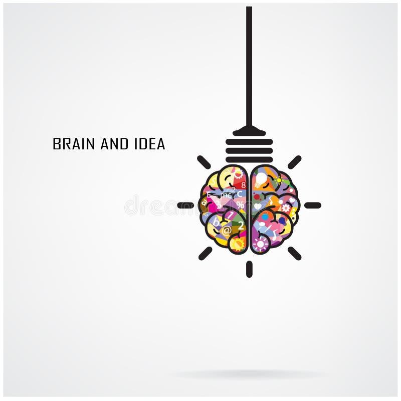 Idea creativa del cerebro y concepto de la bombilla ilustración del vector