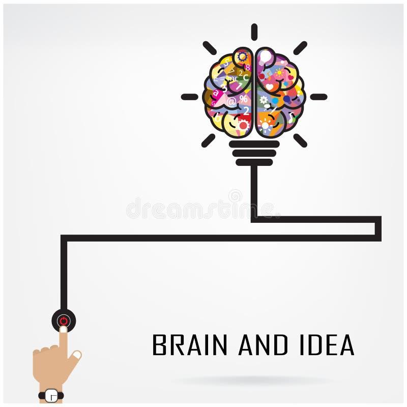 Idea creativa del cervello e concetto della lampadina illustrazione vettoriale