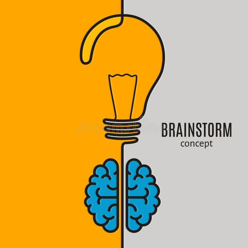 Idea creativa del negocio del concepto del intercambio de ideas Cerebro y bombilla Vector ilustración del vector