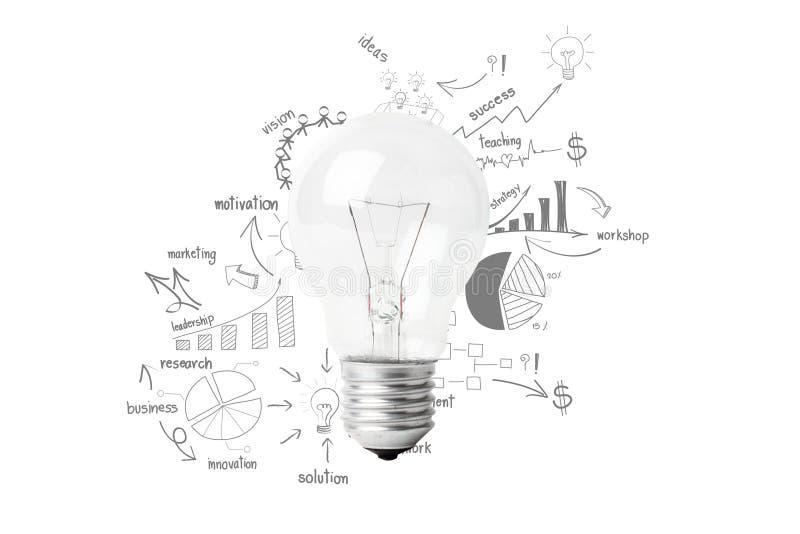 Idea creativa della lampadina con strategia di successo di affari del disegno illustrazione vettoriale