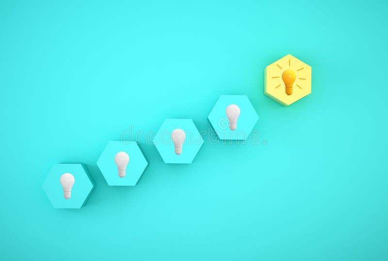 Idea creativa ed innovazione di concetto minimo lampadina che rivela un'idea con l'esagono differente su fondo blu fotografia stock libera da diritti