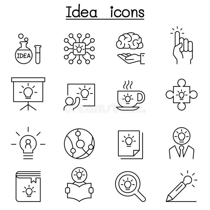 Idea, Creative, Innovation, Inspiration icon set in thin line st royalty free illustration