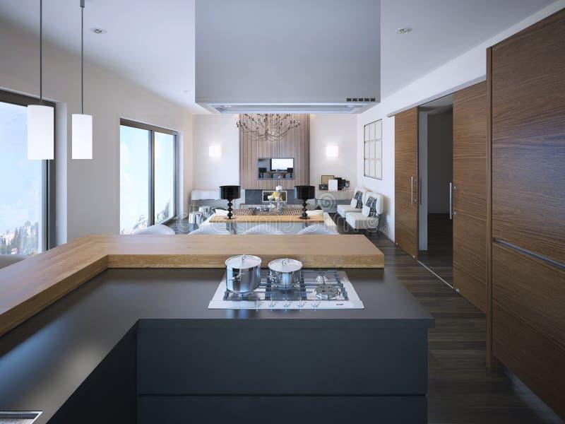 Idea de apartamentos-estudios en colores marrones y blancos stock de ilustración