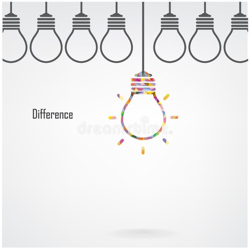 Idea de la bombilla y concepto creativos de la diferencia ilustración del vector