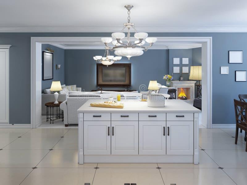 Idea de la cocina interior abierta con la barra stock de ilustración
