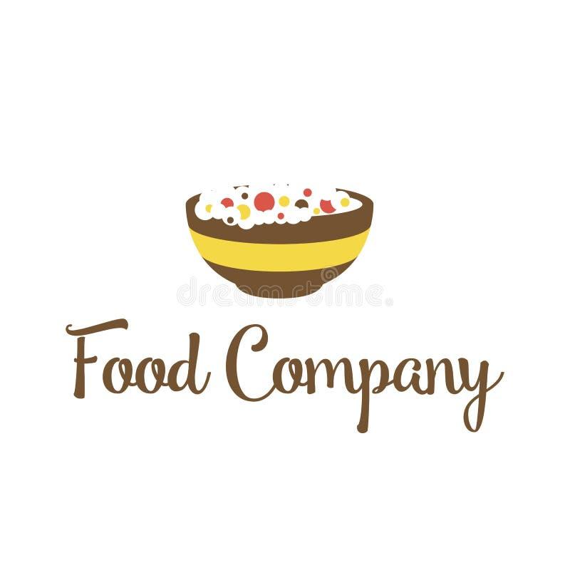 Idea de la comida y del diseño del logotipo del restaurante Logotipo con el espacio negativo Cocinar la plantilla creativa del sí stock de ilustración