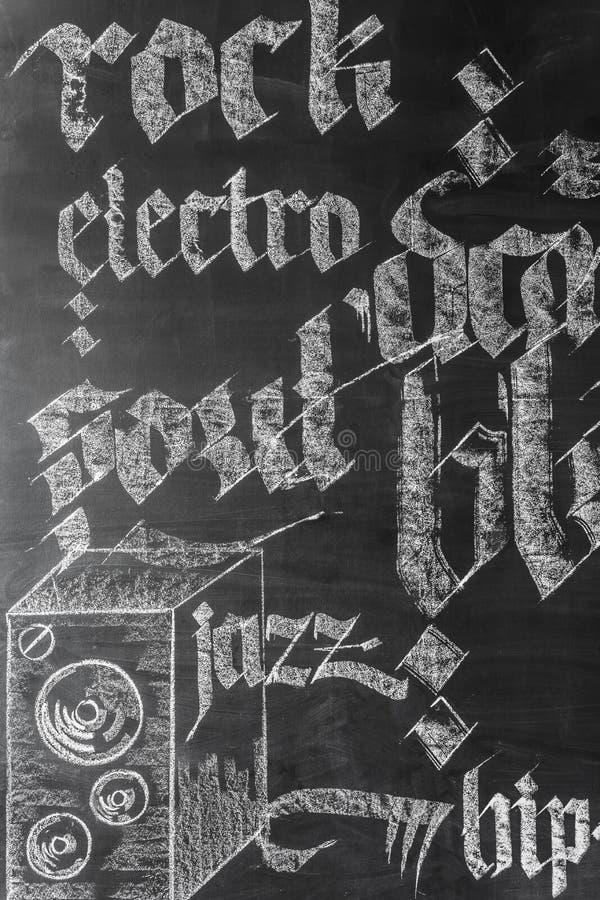 Idea de la decoración de la pared de la música fotografía de archivo