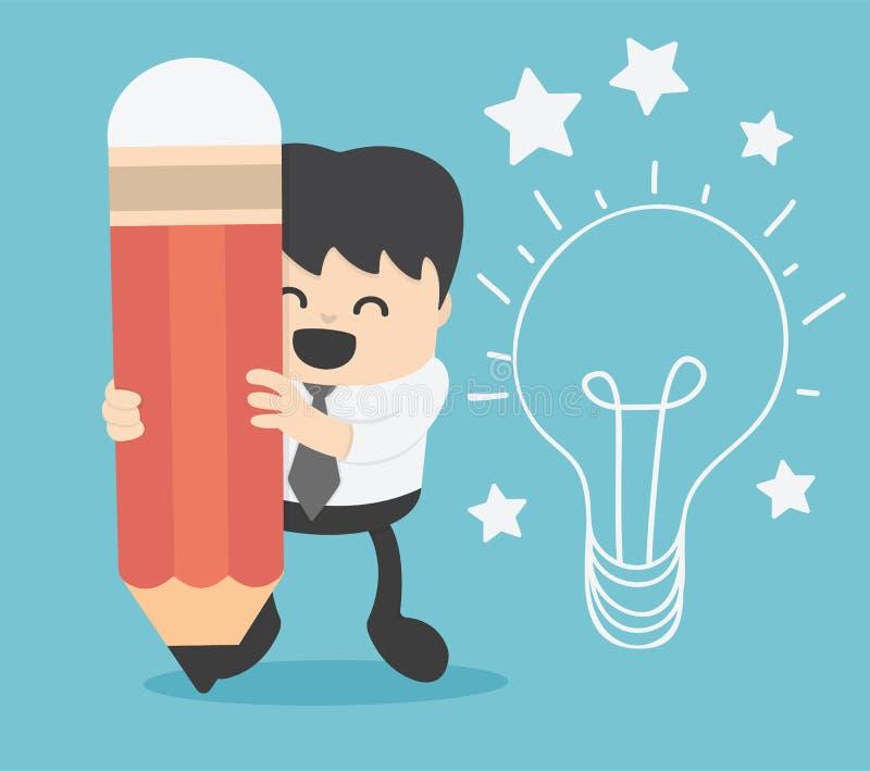 Idea de la escritura del hombre de negocios y bombilla en la pared stock de ilustración