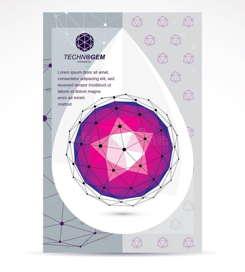 Idea de la promoci?n del negocio de las innovaciones de Digitaces, p?gina de la cabeza del folleto Forma geom?trica brillante del ilustración del vector