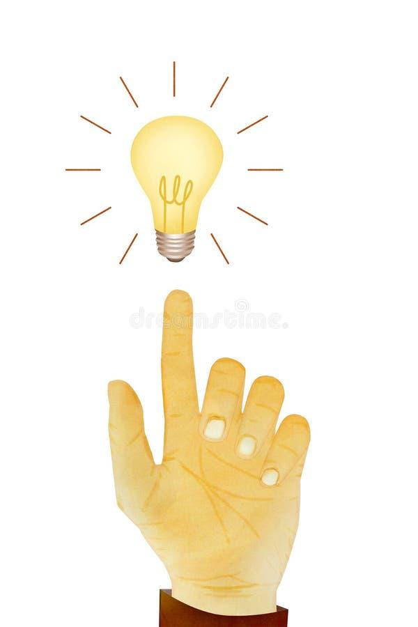 Idea del bulbo de la dirección del gesto de mano ilustración del vector