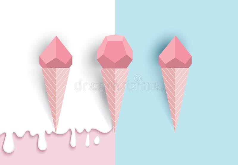 Idea del cereale del gelato, stile geometrico e di carta di arte, con pastello illustrazione di stock