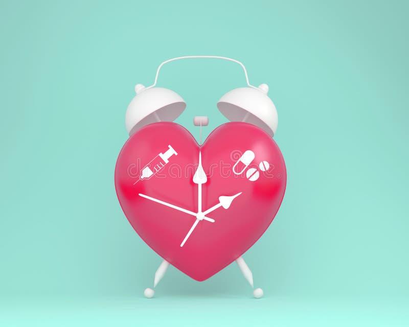 Idea del concepto alrededor de la salud y del seguro médico, despertador rojo del corazón de la disposición creativa de la idea c stock de ilustración